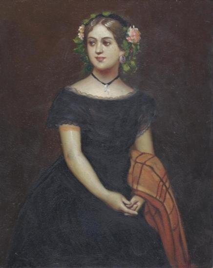 MWF1383FF 8 x 10 Oil on Board Portrait of a Woman