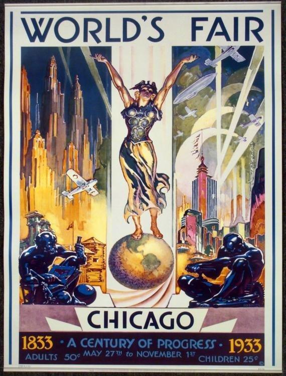 1933 Chicago Worlds Fair Century of Progress Poster