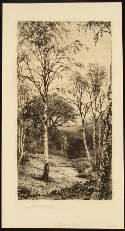 Fred Slocombe Original Signed Etching Woodland Pool