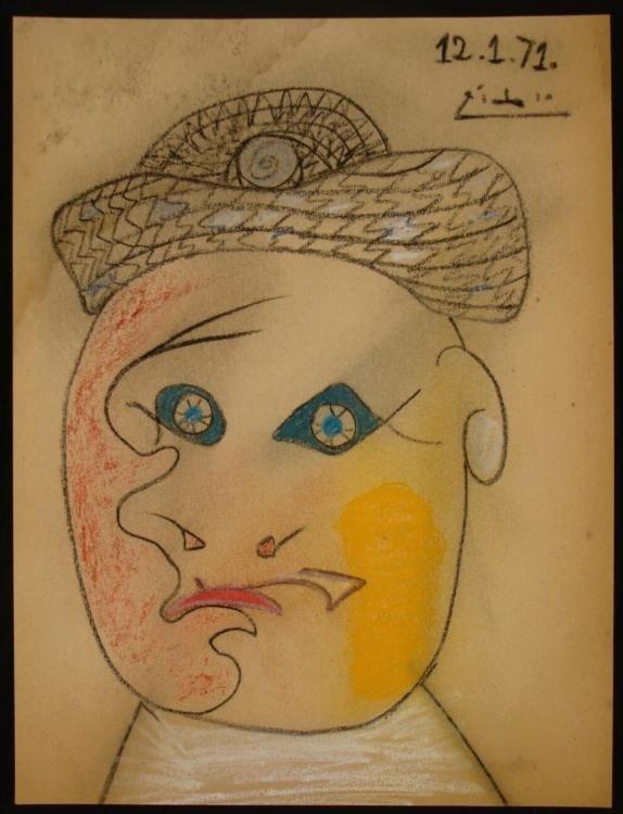 Pablo Picasso Original Crayon Drawing Signed 1971
