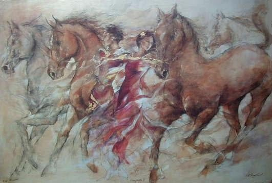 Benfield hand signed serigraph titled ESCAPADE II .