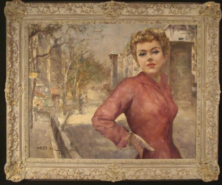 Pal Fried Original Painting Street Scene Woman Purple