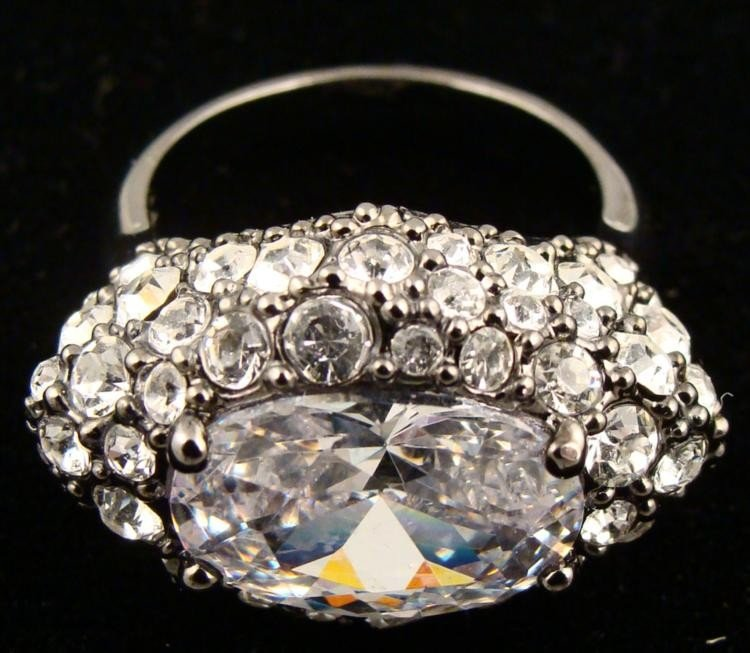 Givenchy Glamorous Crystal Cocktail Ring Size 7