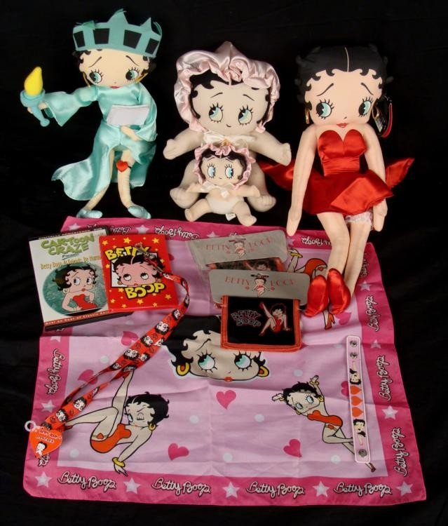 Three Betty Boop Dolls Statue of Liberty Red Dress Baby