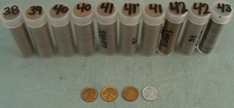 10 Tubes Wheat Cents 1938, 39, 40, 41, 42, 43
