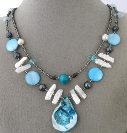 Double Strand Handcrafted Mother-of-Pearl shell pendant