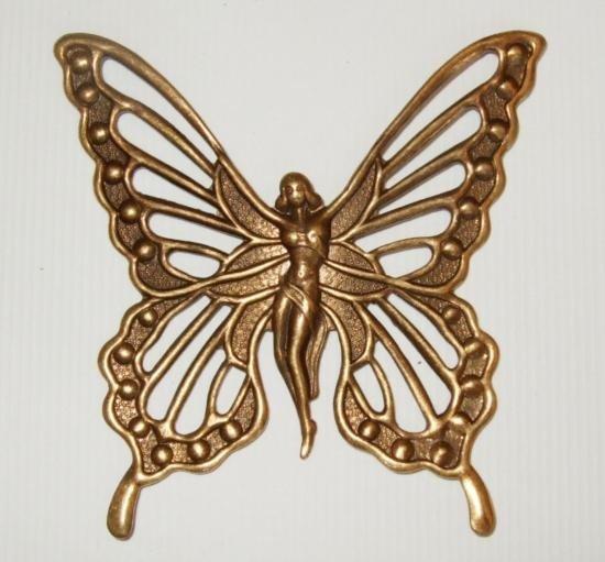 Vintage Brass Victorian Winged Fairy Brooch