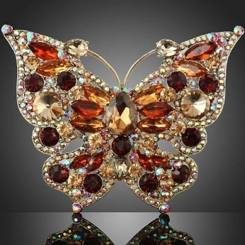 STUNNING Topaz and Citrine Butterfly Brooch Pin adorned