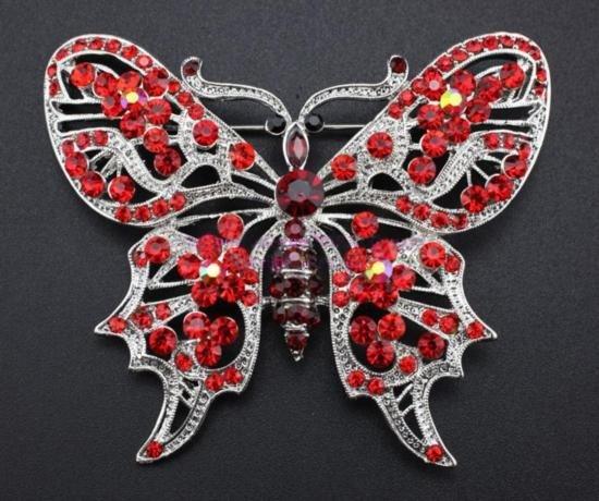 Rhinestone Crystal Butterfly Brooch Pin