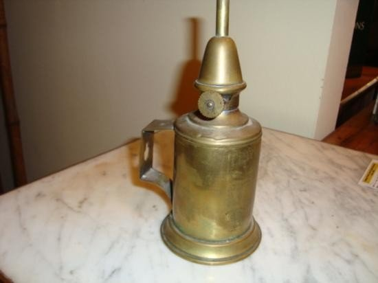 Antique French Oil Lamp copper late 1800's