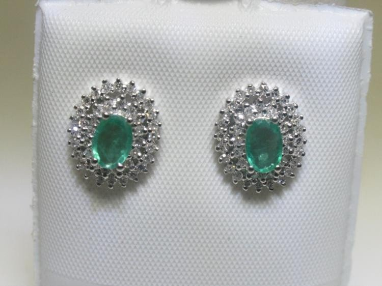 Emerald and Diamonds 14K White Gold Earrings