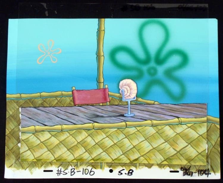 Spongebob Orig Production Cel & Background Announcer