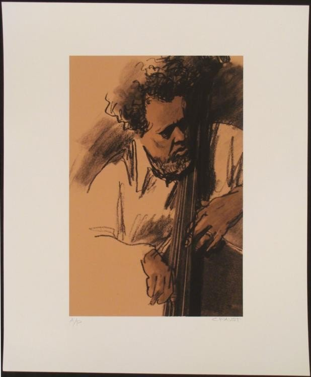 Clifford Faust Signed Charles Mingus Jazz Art Print