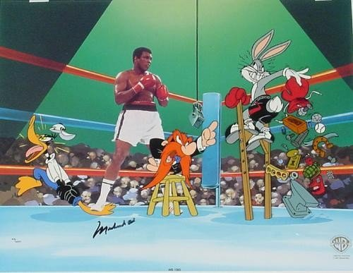 Signed Muhammad Ali EMPTY THAT GLOVE Looney Tunes Cel