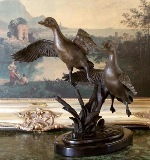 Remarkable Bronze Sculpture Two Flying Ducks