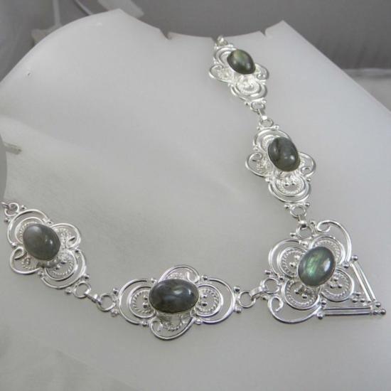 Rare Labradorite and Sterling Silver Necklace MWF1769