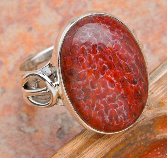 HANDCRAFTED RARE DINOSAUR BONE RING IN SILVER SIZE 6 MW