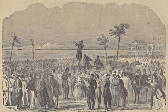 ORIGINAL Antique PRINT scene The Crowd on the Battery