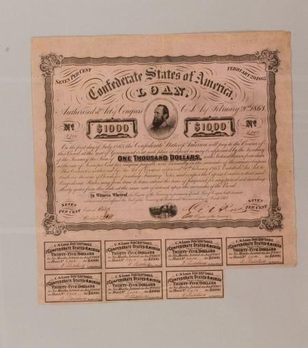 1863 One thousand dollar eight percent CSA loan certifi