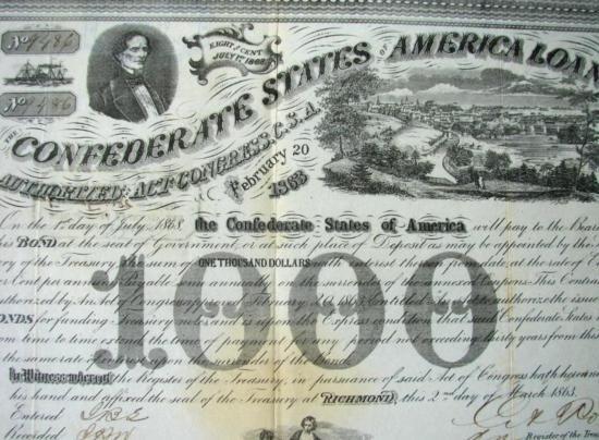 MWF912A Confederate $1000 war bond dated Feb. 20 1863 - 2