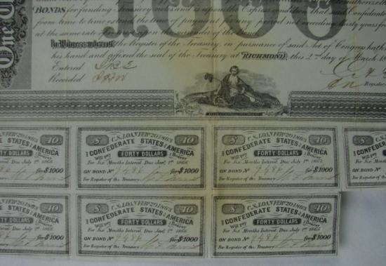 MWF912A Confederate $1000 war bond dated Feb. 20 1863 - 3