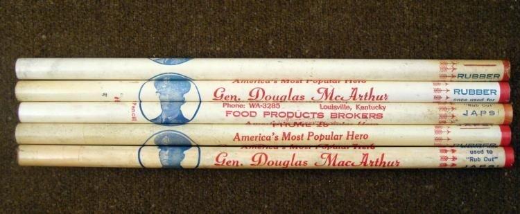 5 VINTAGE GENERAL DOUGLAS McARTHUR PENCILS-WWII