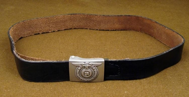 """WWII NAZI SS EM BUCKLE AND BELT-RARE """"RZM-36/40-SS"""""""