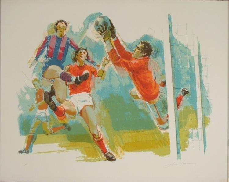 Jim Jensen Signed Sport Art Print -Soccer