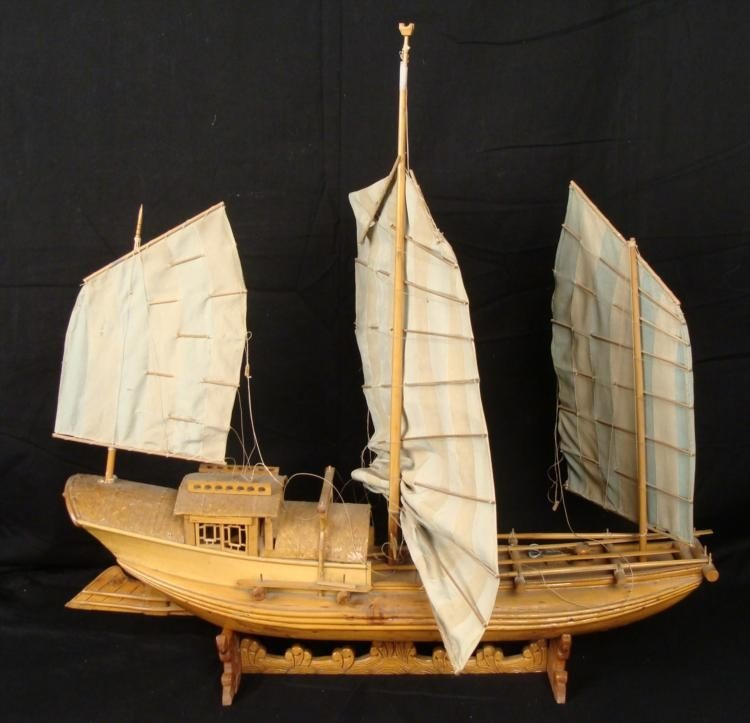 Chinese Vintage Wooden Ship Model Boat Junk 2 ft long