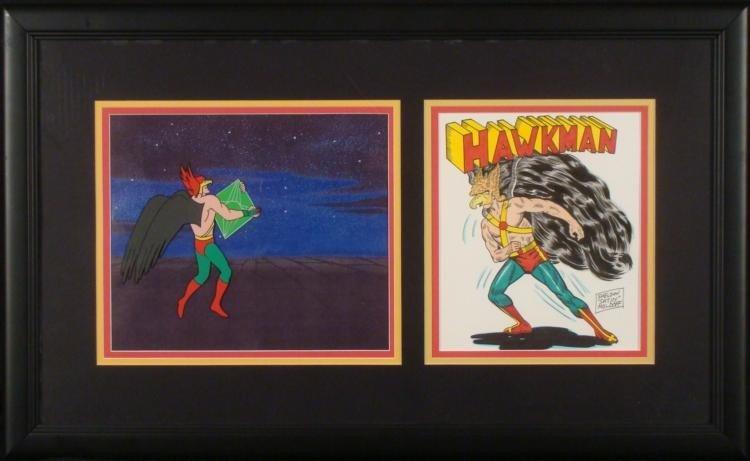 Hawkman Orig Animation Production Cel & 2 Drawings Frmd