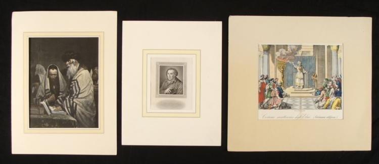 3 Old Jewish Art Prints Portraits Moses Mendelssohn