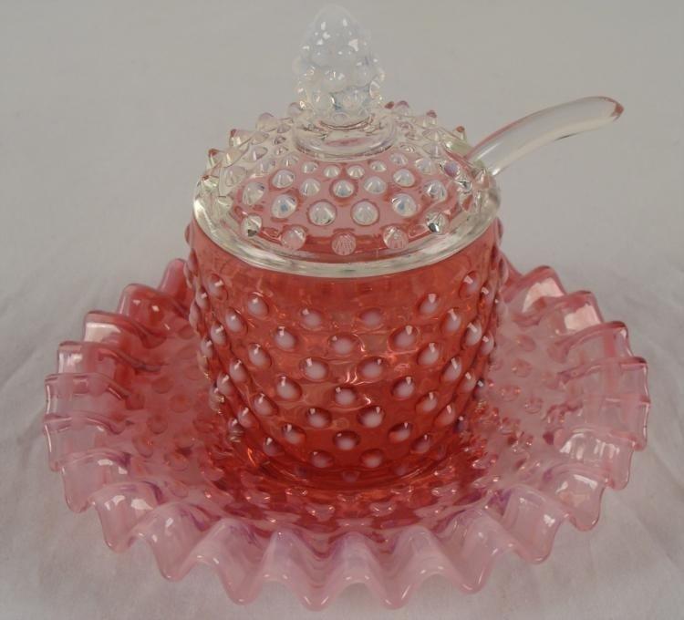 Fenton Cranberry Opalescent Hobnail Jam Set 1940s-50s