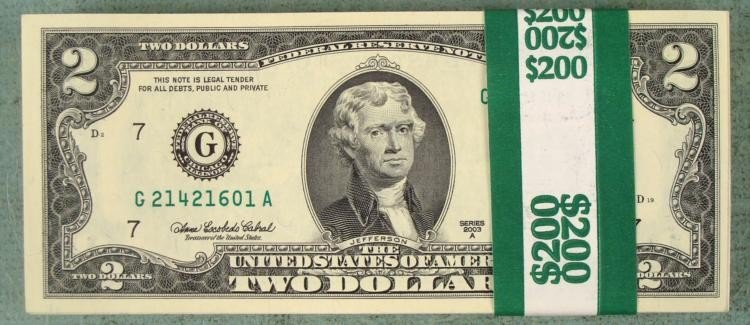 100 Consec $2 Chicago BankWrapped Notes Bills CU 2003 A
