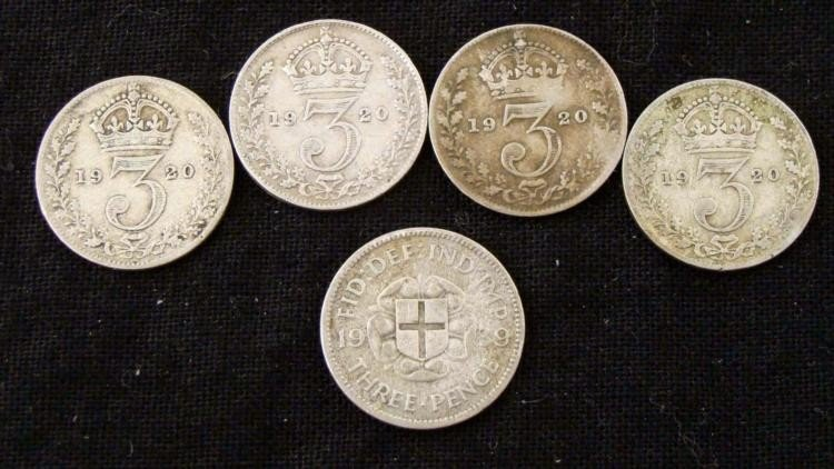 5 Silver British 3 Pence Coins 1920, 1939
