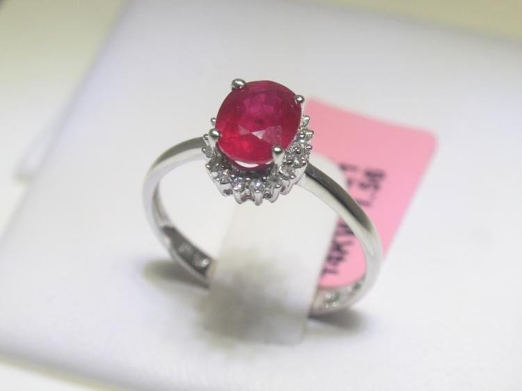 Ruby and .11 Carat Diamonds 14K White Gold Ring