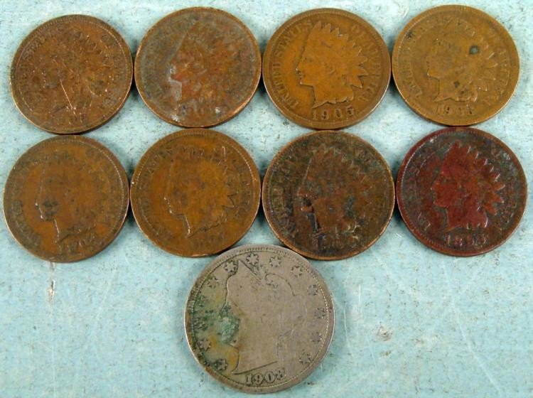 8 Dif Date Indian Cents 1 Liberty Nickel 1899-1907 Nice