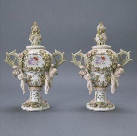 Pair of Japanese Candrea Floral Porcelain Vases