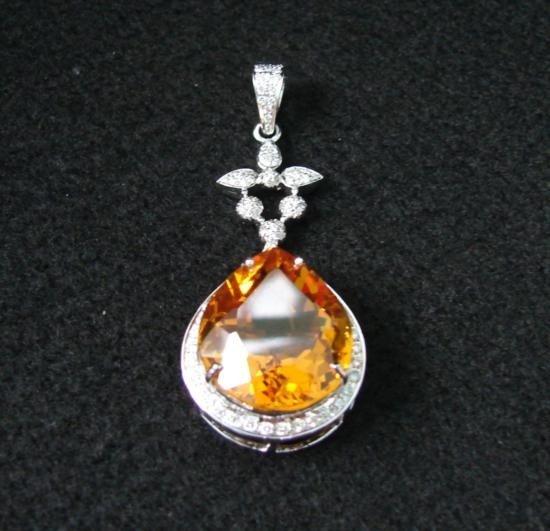 GT0041 Citrine & Diamond Pendant