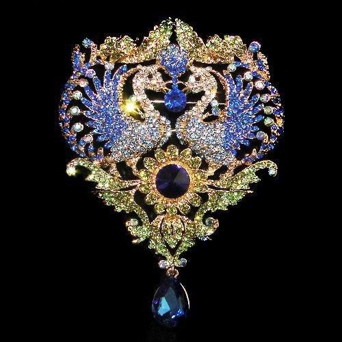 HUGE 4.5inch Swarovski Crystal Phoenix Drop Brooch Pin