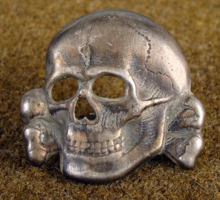 "NAZI SS TOTENKOPF ""DEATHS HEAD"" VISOR HAT INSIGNIA"