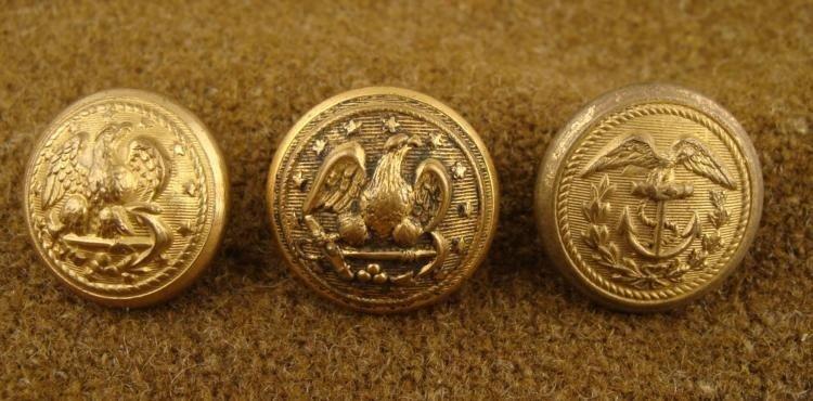 3 Civil War Naval Org Gilt Button Meyer Reeds Waterbury