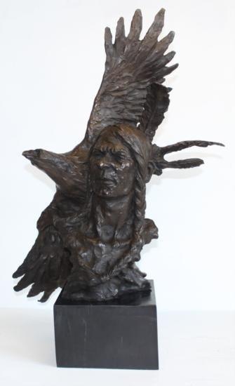 Huge Bronze Bust Native American Indian