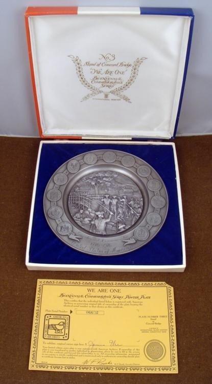 U.S. 1776-1976 BICENTENNIAL PEWTER PLATE MINT IN BOX