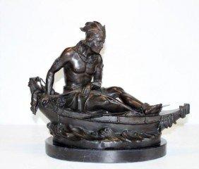 Unique Bronze Sculpture Native American Hunter