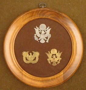COLLECTOR DISPLAY 3 U.S. MILITARY HAT DEVICES FRAMED