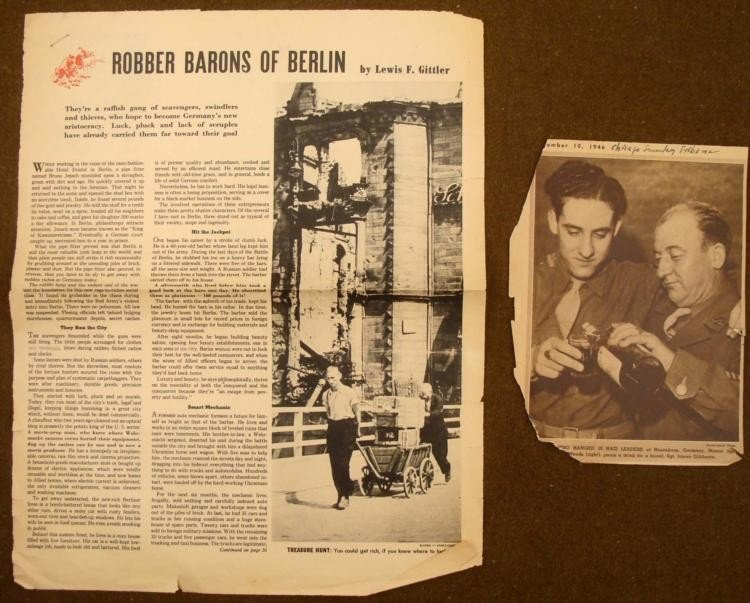 2 WII NEWSPAPER CLIPPINGS 1946-47 POST WWII BERLIN