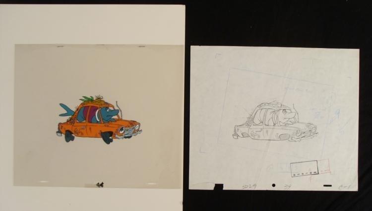 Original Drawing Misterjaw Animation Cel Pink Panther