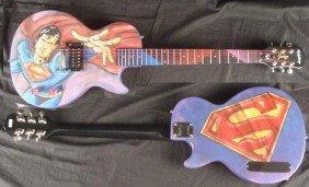 Superman Superhero Original Painting Duerrstein Guitar