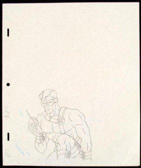 Cyclops Original Drawing Production X-MEN Phoning Help