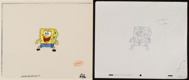 Spongebob Original Production Cel & Drawing Hopping